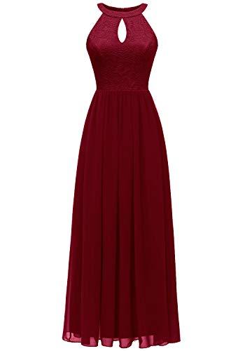 Dressystar 0048 Halter Long Formal Maxi Party Dress Evening Prom Dress S Dark Red