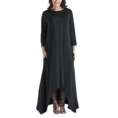 乱闘ビリーヤギ日記Zhhlaixing Plus Size Nine-point Sleeves Womens ファッション Solid Loose Comfortable Long Casual Dresses 美しい ドレス