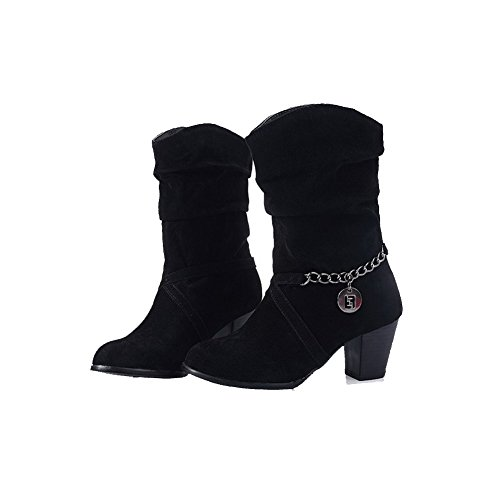 Suede Boots Imitated Allhqfashion on Black Solid Toe Pull Closed Kitten Round Heels Women's 08RgqwP