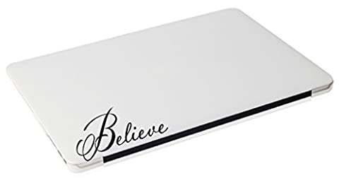 Laptop MAC - Believe religious apple macbook funny decal - matte black skins stickers - Vinyl Quote Design Sticker