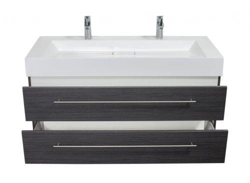 Badmöbel Design 1200 Doppel anthrazit gemasert
