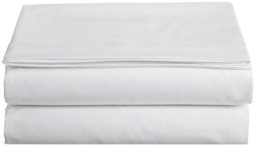 Cathay Home Hospitality Luxury Soft Flat Sheet of 100-Percent Microfiber Construction, Twin Size, White Color ()