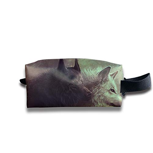 Small Toiletry Bag Black White Wolf,Pencil Case,Travel Essentials Bag,Dopp Kit Bag For Men And Women With Handle
