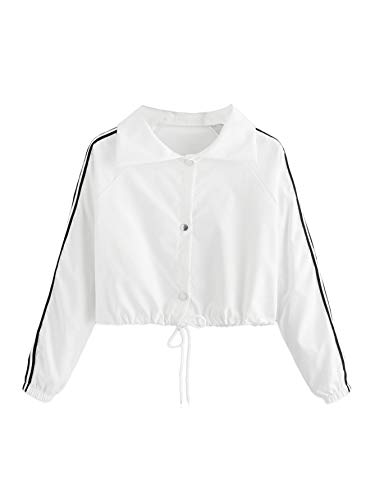 triped Sleeve Collar Button Down Drawstring Hem Crop Top Sweatshirt Pullovers White Small=US 2 ()