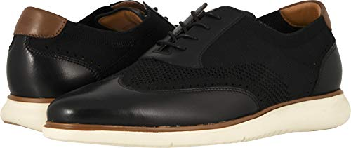 Florsheim Men's Fuel Knit Wing Tip Oxford Black Smooth W/White Sole 12 M US ()