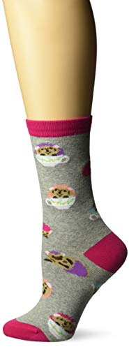 K. Bell Women's Playful Animals Novelty Casual Crew Socks, Hedgehog Teacups (Grey), Shoe Size: 4-10