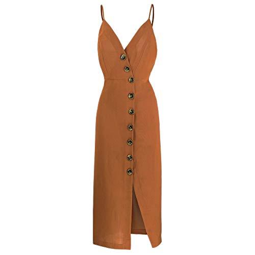 - TOP-MAX Women's Dresses-Summer Spaghetti Strap Sleeveless Split Cocktail Party Casual Button Down Midi Dress Coffee