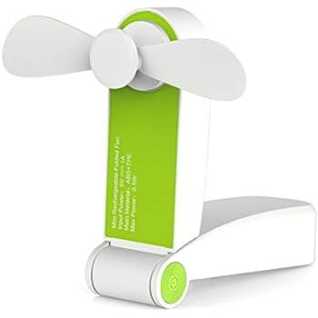 Ronessy Travel Fan Hand Fan Personal Fan Mini Handheld Fan Battery Operated Rechargeable Portable Hiking Fan Red (Single Head, Green)