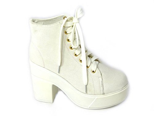 50161 Boots Ladies Platform Chelsea Ankle Womens Heel Chunky Sole White Block Size Cleated 74qzgw7