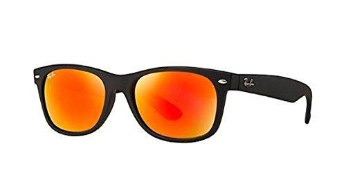 Ray-Ban New Wayfarer RB 2132 Sunglasses Rubber Black / Brown Mirror Pink 52mm & HDO Cleaning Carekit - Pink Ban Ray Wayfarer