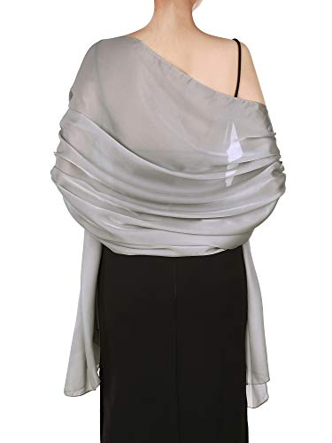 - Boao Women Satin Scarves Long Shawl Wrap Light Soft Sheer Scarf for Wedding Party Everyday Accessory (Silver Grey)