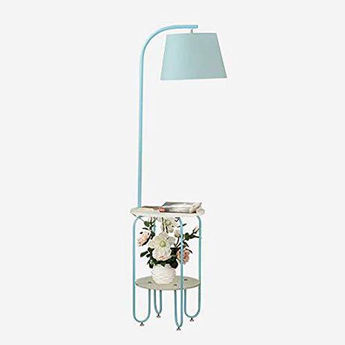 Clasico Simple de Hierro Forjado Lampara Salon Dormitorio Estudio Mesa de Centro Sofa de Almacenamiento en Rack Vertical lampara de Mesa (Color : Blue)