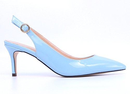 Pointed Slip Women's Shoes Slingback On Patent SUNETEDANCE Sandals Heels Heels Kitten Stiletto Toe Pumps Mid blue HtBOnO8q