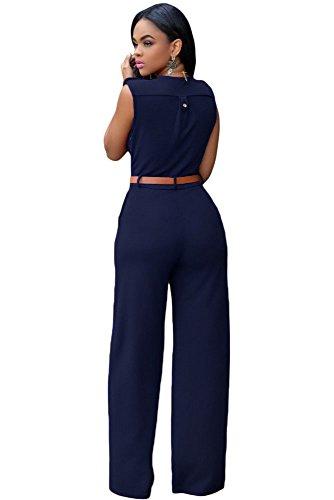 Femmes Bleu marine sans manches avec ceinture Large jambe Combinaison Clubwear Vêtements Taille S 8–10EU 36–38