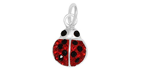 Sterling Silver Ladybug (Sterling Silver Red Crystal Ladybug Charm Pendant (Approximately 8 x 9 mm))