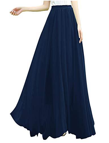 - v28 Women Full/Ankle Length Elastic Retro Maxi Chiffon Long Skirt (S,Navy)