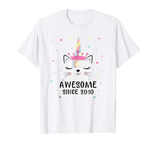 Cat Unicorn Awesome Since 2010 8th Birthday Girl Shirts ()