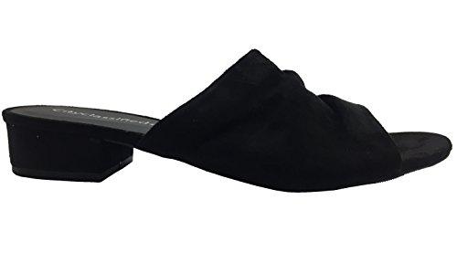 Città Classificata Da Donna Elegante Open Toe Tacco Basso In Ecopelle Scamosciata In Pelle Scamosciata Scivola Su Sandali Con Zeppa Scarpe Nere