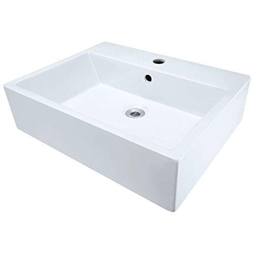 V2502-W White Porcelain Vessel Lavatory Sink (Vitreous China White Rectangular Vessel Bathroom Sink)