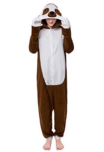 URVIP Unisex Halloween Hooded Pajamas Animal Cosplay Cartoon One-Piece Costumes Dark Sloth -