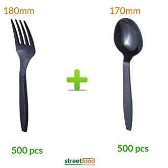 Cubertería de plástico negro | cuchara desechable | cucharas ...