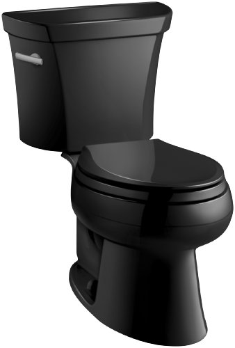 7 Wellworth Toilet (Kohler K-3978-7 Wellworth Elongated 1.6 gpf Toilet, Black Black)