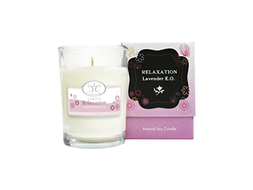 Aromatherapy Essential Oil Soy Candle - Natural, Lavender Scented, Improves Your Quality of (Essential Oil Jar Candle)