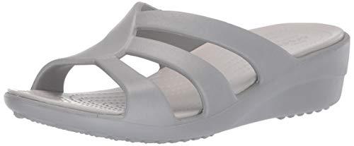Crocs Women's Sanrah Strappy Wedge Sandal, Silver/Pearl White 5 M US ()