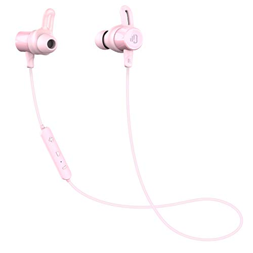 Dudios Bluetooth Headphones Magnetic Wireless Earbuds IPX7 Sweatproof Sports Earphones with Mic (CVC 6.0 Noise Cancelling, 8 Hours Music Time, aptx Stereo, Secure Fit & Lightweight) (Pink) ()