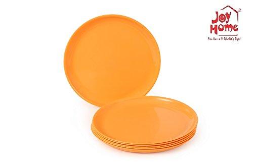 Joy Home Microwave Safe Quarter Plates 6 Pcs Round Orange