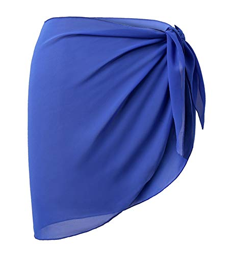 OmicGot Women's Soft Wrap Skirt Beach Swimwear Chiffon Cover up Sarong Swimsuit Royal Blue Short Plus - Dress Skirt Wrap