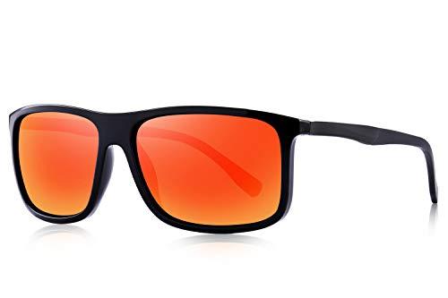 OLIEYE Polarized Square Sunglasses for Men Sports Aluminum Legs O8132 (Red Mirror, 58)
