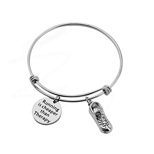 CHOROY Running Jewelry Running Is Cheaper Than Therapy Bracelet Sports Jewelry Runner Gift