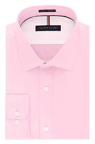 Tommy Hilfiger Men's Dress Shirts Non Iron Slim Fit Solid Spread Collar, Desert Rose, 16.5
