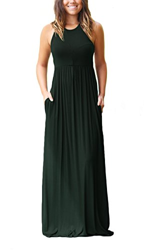 Women's Sleeveless Racerback Loose Plain Maxi Dresses Casual Long Pockets Dress Dark Green S (Dresses Maxi For Women)
