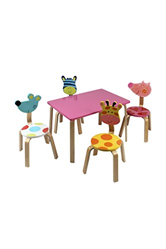 Review Kids Animal Wood Table U0026 4 Chairs Set  Pink By Keewoo By Keewoo