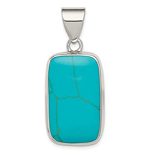 Solid 925 Sterling Silver Rectangle Simulated Turquoise Pendant (40mm x ()