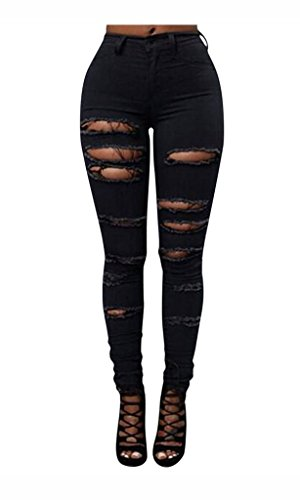 Best Stretch Jeans (Women Ripped Distressed High Waisted Stretch Slim Fit White Denim Skinny Jeans)