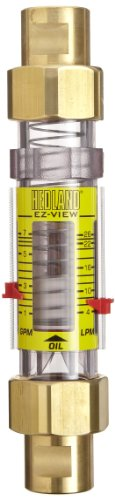 - Hedland H624-104 EZ-View Flowmeter, Polysulfone, For Use With Oil and Petroleum Fluids, 0.5 - 4 gpm Flow Range, 1/2