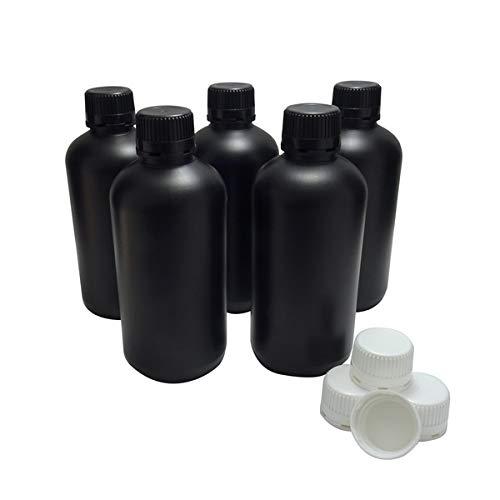 KENZIUM - Pack de 5 Botellas de Laboratorio + 5 Tapones Blancos + 5 Negros, para Muestras de 1000...
