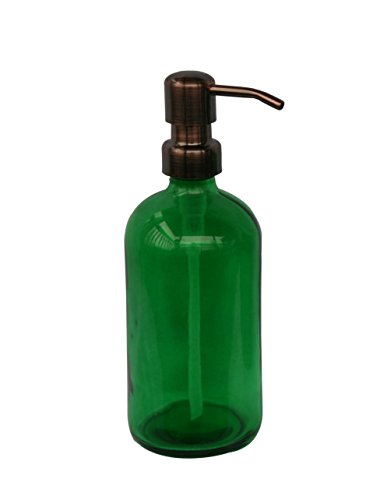 Industrial Rewind Bankers Green Glass Kitchen/Bathroom Hand Soap Dispenser with Bronze Metal Pump - Green 16oz Glass Bottle Lotion Bottle