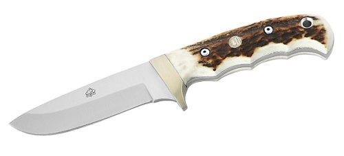 Puma Messer  IP Trapper Stag, Jagdmesser, Stahl 440 C, Hirschhorn, Neusilber, braune KM-vcherscheide, 309410, Gr.E