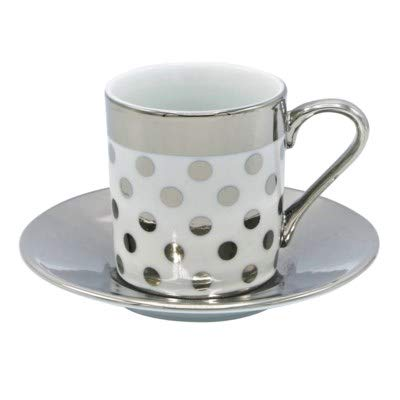 Porcelain China Espresso Turkish Coffee Demitasse Set of 6 Cups + Saucers with Metallic Design (Silver Polka Dots) ()