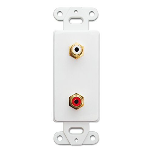 (C&E CNE41435 Decora Wall Plate Insert, RCA Stereo Couplers (Red/White), 2 RCA Female, White)