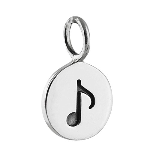 (Pendant Jewelry Making Music Note Charm - 925 Sterling Silver - Tiny Round Disk Engraved Musician)