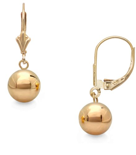 14k Yg Dangle - 14k Gold Polished 7mm Ball Drop Dangle Earrings with Leverback (yellow-gold)