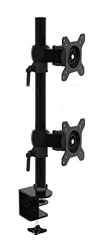 Duronic [ DM35V2X1 ] Double Twin LCD LED Verticle Desk Mount Arm Monitor Stand Bracket | Fits: 13-27' | Tilt: ±15° | Swivel: 180° | Rotate 360° | VESA 75 100 | MAX Load: 35lbs