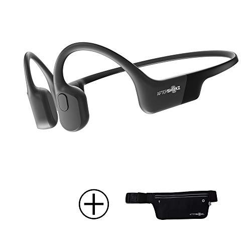AfterShokz Aeropex Open-Ear Wireless Bone Conduction Headphones with Sport Belt, Cosmic Black (The Best Sport Headphones)