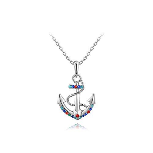 Earings Pewter (AROUND 101 Swarovski Elements Austrian Crystal Anchors Zircon Pendant Necklace (Silver))