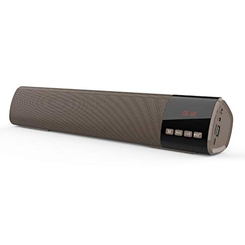 Sound bar Bluetooth Speakers 10W Surround Sound with Enhanced Bass, Bluetooth 5.0 Home Theater Speaker Bar Wired and Wireless Connection,Brown